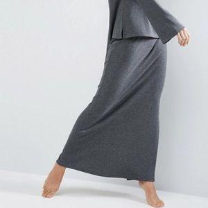 Charcoal Fleece Maxi Skirt